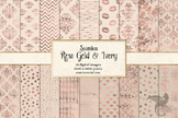Rose Gold and Ivory Digital Paper seamless patterns