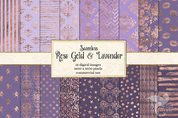 Rose Gold and Lavender Digital paper, seamless backgrounds and patterns