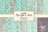 Rose Gold and Mint Digital Paper, seamless patterns