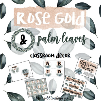 Rose Gold and Palm Classroom Signs