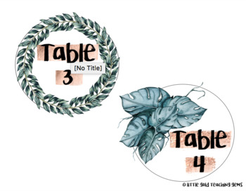 Rose Gold and Palm Classroom Table Numbers
