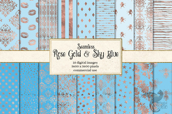 Rose Gold and Sky Blue digital paper, seamless patterns