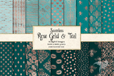 Rose Gold and Teal Digital Paper, seamless patterns
