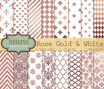 Rose Gold and White Digital Paper pack