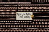 Rose Gold glitter tribal borders clipart