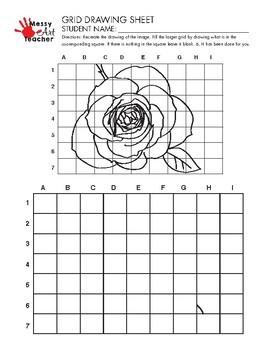 Rose Flower Grid Drawing Worksheet for Middle/High Grades