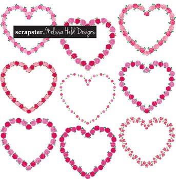Clipart: Rose Heart Frames Clip Art