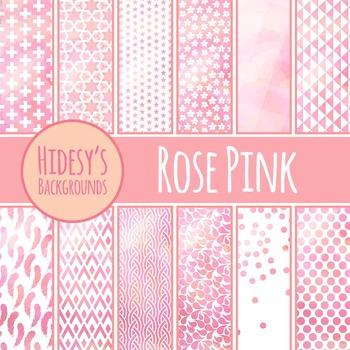 Rose Pink Backgrounds / Digital Papers / Patterns Clip Art Commercial Use