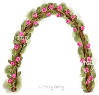 Rose Trellis - Wedding, Garden clip art, Printable Tracey Gurley Designs
