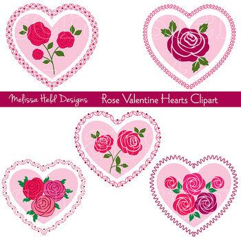Clipart: Rose Valentine Hearts Clip Art