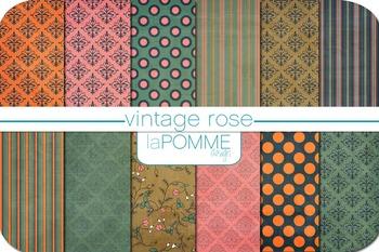 Rose Vintage Muted Pink & Green Patterned Digital Paper Pack