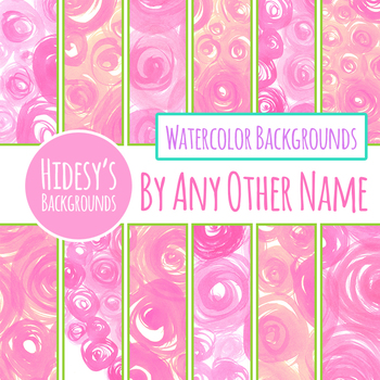 Rose / Watercolor Swirl in Pink Digital Papers / Backgrounds Clip Art Set