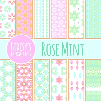 Rose and Mint Backgrounds - Pink and Green Patterns / DIgi