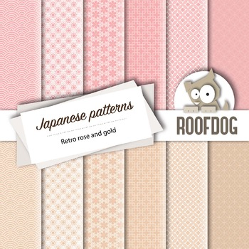 Rose and gold Japanese style patterns—digital paper