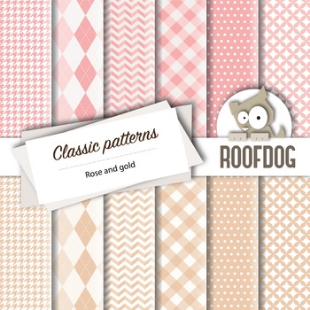 Rose and gold classic patterns—argyle, houndstooth, chevrons, gingham