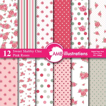 Digital Papers - Roses and Floral Paper and Backgrounds AMB-954