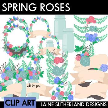 Roses, Banners and Mason Jars Clip Art Set
