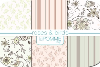 Roses & Birds Vintage Historic Patterned Digital Paper Pack
