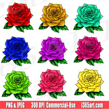 Roses Clipart Set, Roses Clip art, For Scrapbooking, Illus
