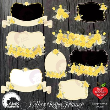 Roses Frames Clipart, Floral Frames in Yellows and Whites Clipart, AMB-1114