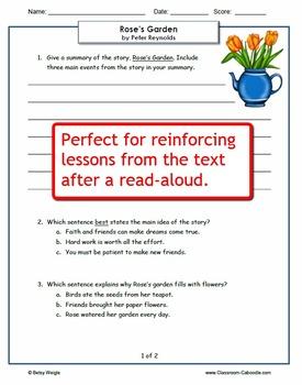 Rose's Garden Reading Comprehension Worksheets for Grades 3-5
