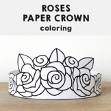 Roses Paper Crown Headbands Printable Coloring Spring Summer Craft Activity
