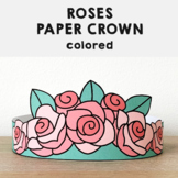 Roses Paper Crown Headbands Printable Spring Summer Craft Activity Template