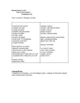 Rosetta Stone Level 3 Unit 1 Vocabulary Lists (Latin America)