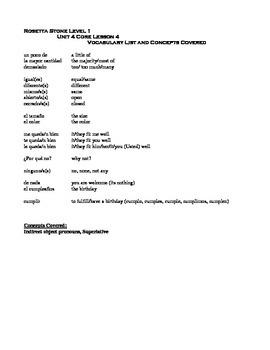 Rosetta Stone Spanish Level 1 Unit 4 Vocabulary Lists