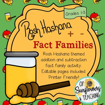 Rosh Hashana Addition & Subtraction Fact Families