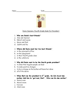 Rosie Swanson 4th Grade Geek for President book test and answer key