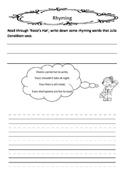 Rosie's Hat by Julia Donaldson literacy unit circle comprehension HOT