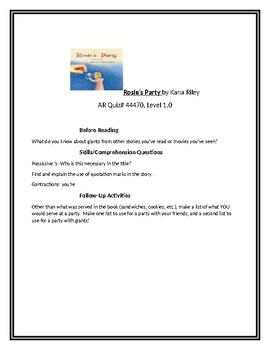 Rosie's Party for Guided Reading