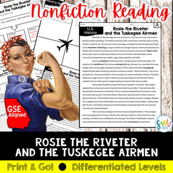 Rosie the Riveter & Tuskegee Airmen Reading & Writing Activity (SS5H4, SS5H4e)