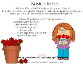 Rosie's Roses- /R/ (I) and 6 variations of vocalic /r/