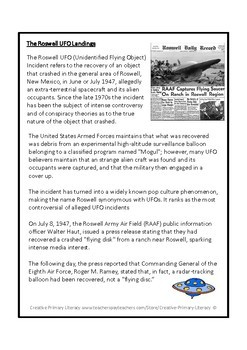 The Roswell UFO Landings Reading Comprehension Activity