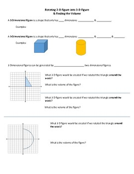 Rotating 2-D Shapes to 3-D Figures & Finding Volume
