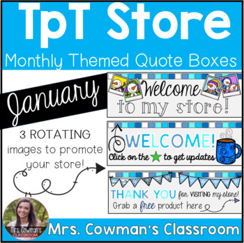 Rotating Winter Time {January} Personal Quote Box for your TpT Store