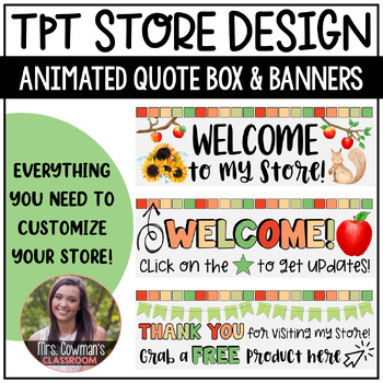 Rotating Fall or Autumn {September} Personal Quote Box for your TpT Store