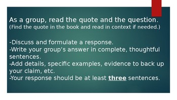 Rotating Group Discussion Activity - Quote analysis activity for any novel