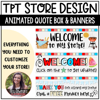 Rotating Independence Day {4th of July} Personal Quote Box for your TpT Store