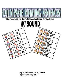 Rotating /K/ Sentence Cut & Paste Worksheets for Articulation Practice