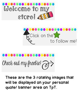 Rotating Neon Personal Quote Box Banner for your TPT Store