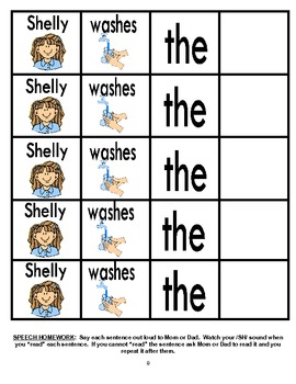 Rotating /SH/ Sentence Cut & Paste Worksheets for Articulation Practice