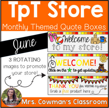 Rotating Summer Beach Time {June} Personal Quote Box for your TpT Store