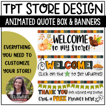 Rotating Thanksgiving {November} Personal Quote Box for your TpT Store