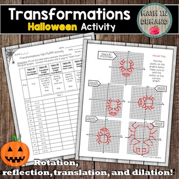 Transformations Halloween Activity (Reflection, rotation, translation, ...)