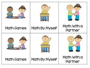 Rotation Cards for Math and Literacy Centers