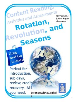 Rotation, Revolution, and Seasons Grab and Go Content Reading and Activities