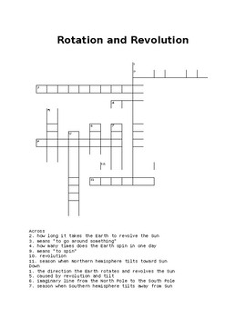 Rotation and Revolution Crossword